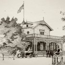 Print of Pen and Ink Drawing of Main Entrance to WFB Resort 1889