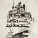 Print of Pen and Ink Drawing of Eagle Excursion Boat at Pabst WFB Inn 1889