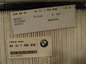 BMW Cabin Air Filter E34 E32 525i 540i 735i iL 740i iL 64-31-1-390-836