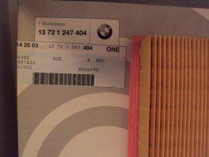 BMW AIR FILTER GENUINE BMW 13 72 1 247 404