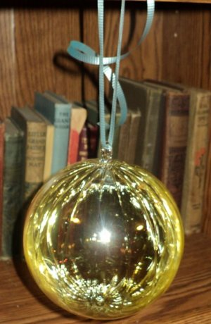 5 Inch Clear Ribbed Glass Gold Tinted Christmas Ball Made in Romania