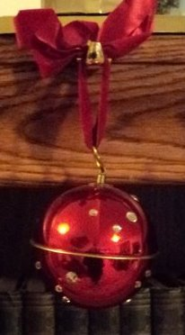Musical Metal Red & Sequined Ball Ornament