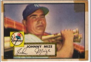 """Johnny Mize Topps #129 baseball card"""