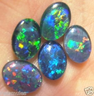 AUSTRALIAN  OPAL TRIPLET GEMS   5of- 8x6 mm 4.2cts.