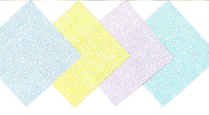4 Inch Soft Pastel Flower  Fabric Quilt Squares Kit 20 sqs