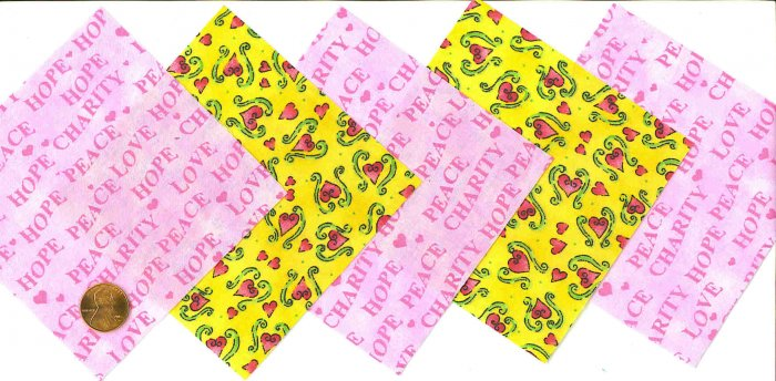 4 inch Fabric Quilt Squares Breast Cancer Hearts & Support 20 sqs