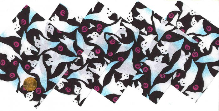 4 inch Fabric Quilt Squares BOO Ghosts 20 sqs