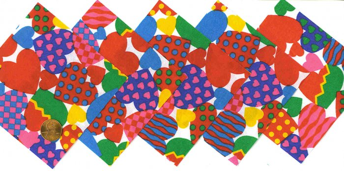 4 inch Fabric Quilt Squares Hearts & More Hearts 20 sqs