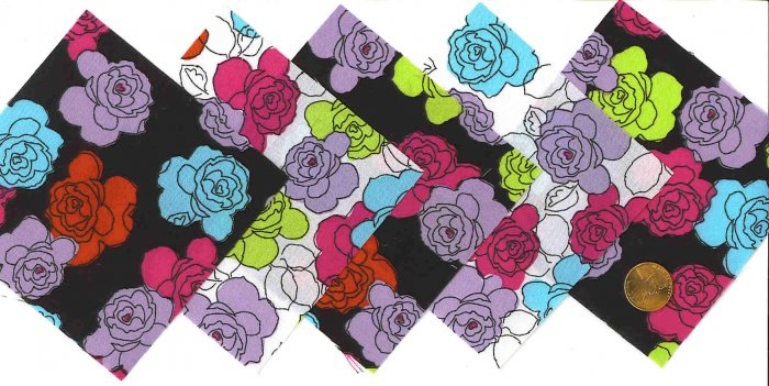 4 inch Fabric Quilt Squares Kit Black & White Flowers 20 sqs