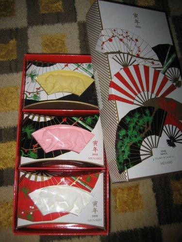 NEW RARE MENARD JAPAN ETO SOAP BARS PINK WHITE YELLOW 3 PIECE GIFT SET