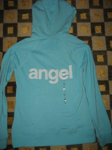 VICTORIA'S SECRET SUPERMODEL ESSENTIALS SEQUINS BLING ANGELS BABY BLUE HOODIE S