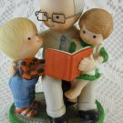 Ceramic Grandpa Reading to Little Ones Cheerful Colorful Figurines Enesco tblnz1