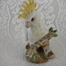 Ceramic Cockatoo Figurine Perched On A Tree Limb Yellow White Delicate tblot1