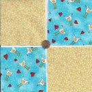 Chicken Pox Blues  4 inch 100% Cotton Novelty Fabric Squares SO1