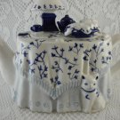 Ceramic Teapot Tea Time Table with Trinkets On Top Blue White Elegance tblmw1