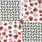 Dog Bones Pet Prints Red Black 100% Cotton Fabric Quilt Squares GE
