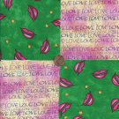 I Love My LIPS  Love Pink 100% Cotton Fabric Quilt Square Blocks GE