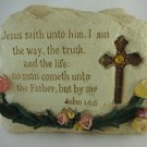 Resin Stone Bible Verse Crucifix Statue Religious Home Decor Collectible tbluu1