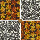 "Mono Autumn Leaves Cotton Fabric Multi Quilt Novelty 4"" Squares JS1"