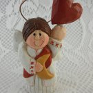 Resin Small Angel Red Heart and Moon Statue Eddie Walker tblwk1
