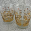Golden Floral Glasses Set of 2 Beverage Drink Home Decor Kitchenware tblot1