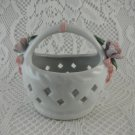Ceramic Bouquet Holder Shabby Rose Floral Basket Trinkets Jewelry tblbs