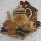Plaque Tea Pot Tea Cup and Muffins with Violets in Wicker Basket Decor tblfx1