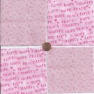 Hope Peace Love and Pink   4 inch 100% Cotton Novelty Fabric Quilt Squares TC1