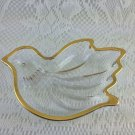 Bird Shaped Glass With Gold Trim Candy Trinket Dish tbljr2