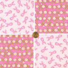 Breast Cancer Awarenss and Daisies Cotton Fabric Squares Blocks ZS1