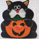 Vintage Wood Halloween Cat and Pumpkin Plaque Adorable Cheerful tblnz1