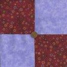 Flower Burst Blue Lavendar Red Cotton  Novelty Fabric Quilt Blocks Squares Ze1