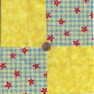 Red Flowers Blue Yellow Sqs 4 inch 100% Cotton Novelty Fabric Quilt Squares DE1