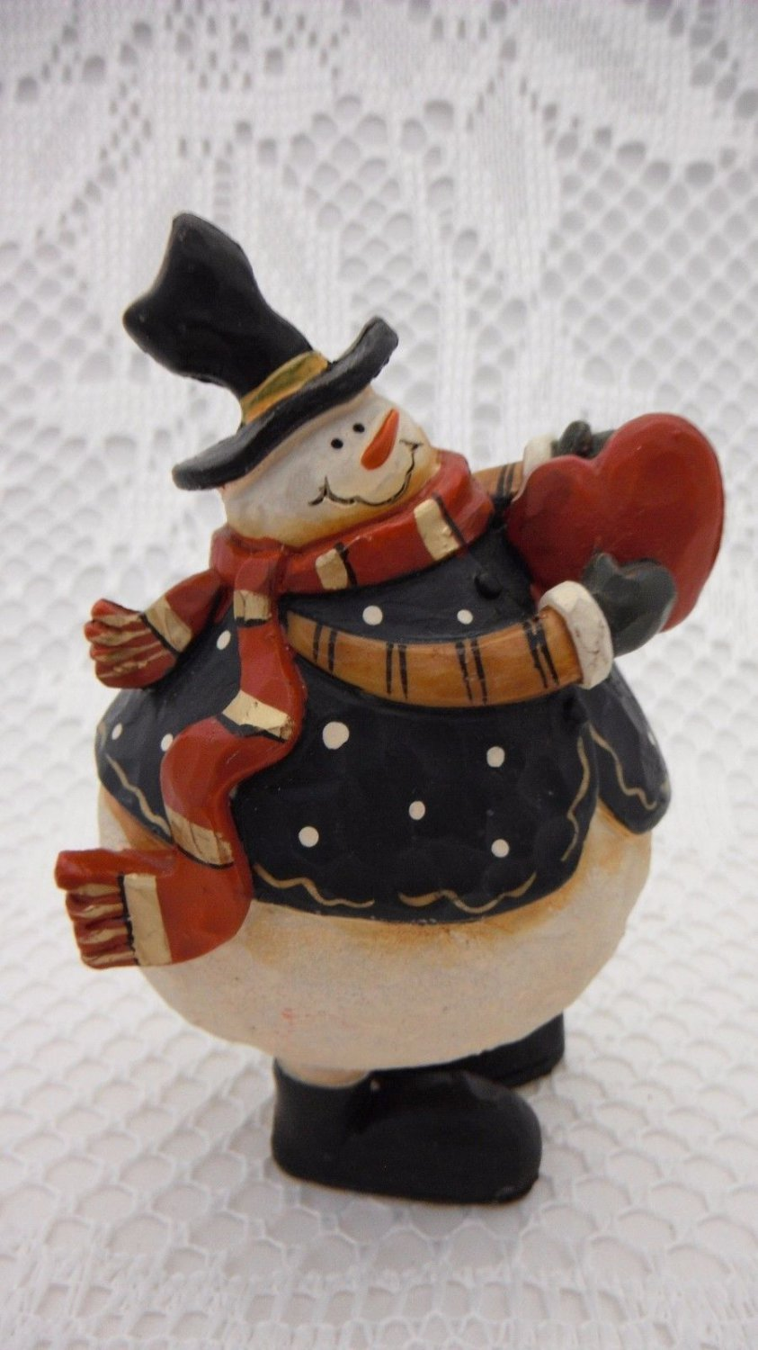 Ceramic Snowman Full of Love Statue Christmas Decoration Cheerful Heart tblvl1