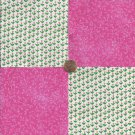 Small Pink Flowers and Pink  4 inch 100% Cotton Novelty Fabric Quilt Squares DE1