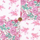 Pink Florals and Cancer Ribbons 100% Cotton Fabric Blocks Squares  my3
