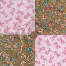 Breast Cancer Ribbons Roses   4 inch Fabric Quilt Squares ZE1