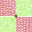 Daisies and Stars Pink and Green  Flowers Fabric 100% Cotton Squares  31b   zw1