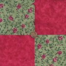 Red Roses on the Vine 4 inch Cotton Fabric Craft Squares PB1
