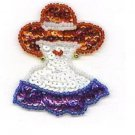 Red Hat Lady Purple Dress Sequin Beaded Applique Patch Fashion Accessory  ZDS2