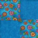SASSY Blue Flowers 4 inch Fabric Quilt Squares Block zk1