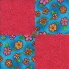 Bright Flowers Pink Whimsy 100% Cotton Fabric Quilt Square Blocks GE