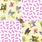 Tea for Two Teacup Breast Cancer Aware Cotton Quilt Fabric Squares cc1