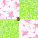 """Breast Cancer Awareness Flowers and Rbbonsi 4""""  4 inch Fabric Quilt Squares LW1"""