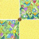 Springtime Bliss Bugs Garden Tulips Flowers  100% Cotton Fabric Quilt Squares GE