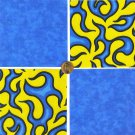Hot Rod Flames Blue Yellow  Bright Colorful  100% Cotton Fabric Quilt Squares GE