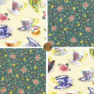 Vintage Style Tea for Two Teacup Cream Cancer Cotton Quilt Fabric Squares cc1