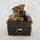 Wedding Bears Anniversary With Bird Treasure Jewelry Trinket Earring Box tblxs1