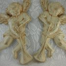 Angel Wall Hangings Plaques Cherub Angels with Musical Instruments Horns tblnu1