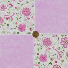 Breast Cancer Ribbons and Flowers  Fabric 100% Cotton Squares  A7  zw1